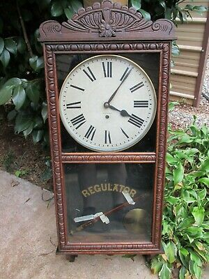 Antique New Haven Regulator 8 Day Tampa Wall Clock Store Schoolhouse Time Only