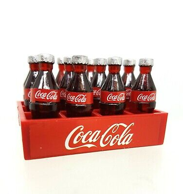 Doll House Accessories 1:12th Miniature - 1 Set ot 12 Coke Bottles & Crate