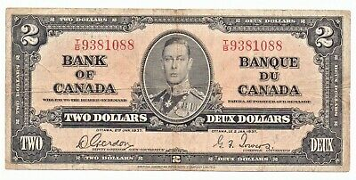 Canada 1937 Banknote 2 Dollar King George VI as pictured