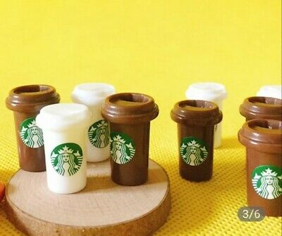 Doll House Accessories 1:12th Miniature - Set of 2 Mini Starbucks Coffee Holder