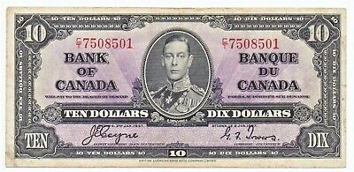Canada 1937 Banknote 10 Dollar King George VI as pictured