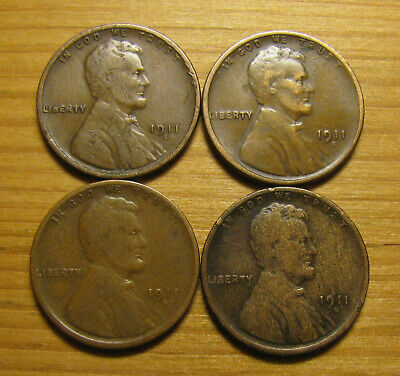 Lot Of (4) 1911 S San Francisco Lincoln Wheat Cents From Penny Collection
