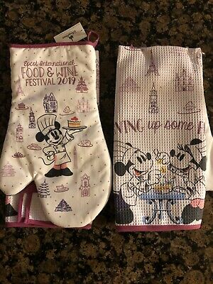 2019 Epcot International Food & Wine Festival Chef Minnie Oven Mit And Towel NWT