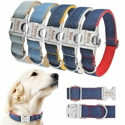 Nylon Personalized DOG Collar Custom Engraved ID Name Puppy Pet Small Large Dogs
