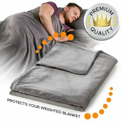 """Deluxe Weighted Blanket Duvet Removable Cover 60''x80'' 48''x72"""" Anxiety Relief"""