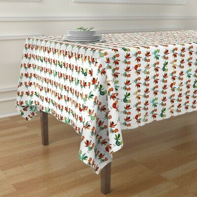 Tablecloth Roosters Red Aqua White Farm Animal Kitchen Country Cotton Sateen