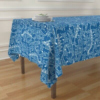 Tablecloth Lace Dinosaurs Detailed Dinos Floral Blue Apparel Grid Cotton Sateen