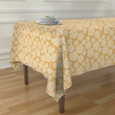 Tablecloth Yellow Floral Tea Doily White Time Lace Flower Cotton Sateen