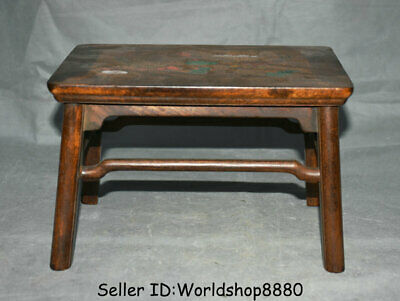 """10.4"""" Old Chinese Huanghuali Wood Inlay Shell Dynasty Year Fish Table furniture"""