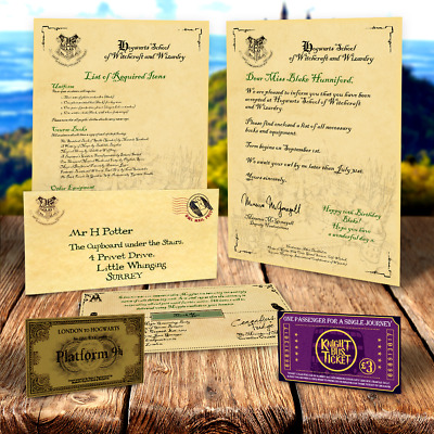 Personalised HARRY POTTER Hogwarts Acceptance Letter + FREE 9 3/4 TICKET