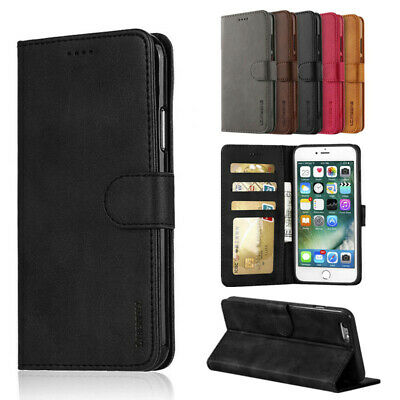 Case for iPhone 6 7 8 5s Plus XR XS Max Cover Genuine Leather Flip Wallet Stand