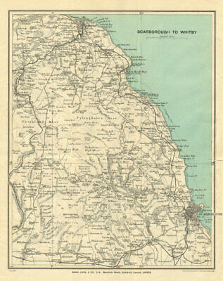 NORTH YORKSHIRE COAST & MOORS. Whitby Scarborough. WARD LOCK 1930 old map