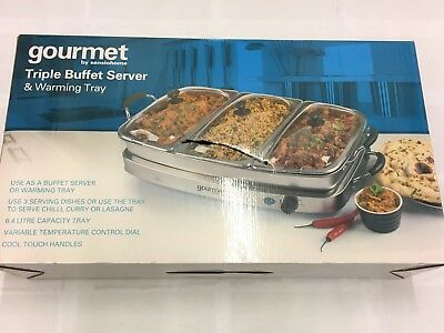 Gourmet by Sensiohome Triple 6.4L Buffet Server with Warming Tray GBSTBS005