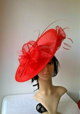 Poppy Red Sinamay & feather Hatinator ..hat.Large saucer disc Wedding.races.*