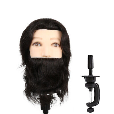 """26"""" 100% Real Human Hair Mannequin Head Salon Hairdressing Training Model+Clamp"""