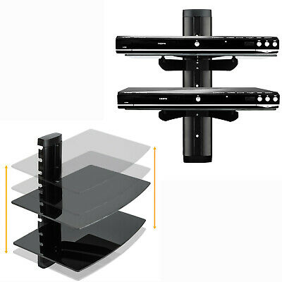 Wall Mount TV Components 2 Shelf Floating Black Glass Bracket For Xbox PS4 Sky
