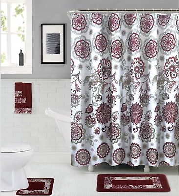 Empire Home 18-Piece Floral Burgundy & White Bathroom Set Rugs Towels Included