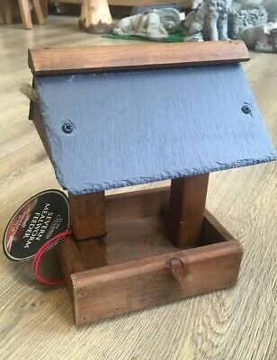 Tom Chambers Hand Crafted Wooden Hanging Bird Table Slate Roof Rope Severn