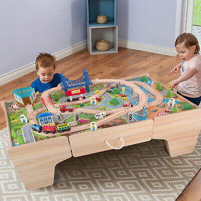 KIDS WOODEN ACTIVITY White Table and 90 Piece Train Set Car