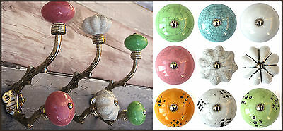 Vintage silver leaves shabby chic coat pegs hooks with choice of ceramic knobs