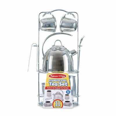 Melissa and Doug Stainless Steel Tea Set and Storage Stand - 14251 - NEW