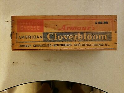Vtg Armour's Cloverbloom Wooden Cheese Box Drawer Chicago Illinois