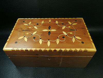 Antique Birds Eye Maple Wood Tunbridge Ware Wooden Jewellery Box Gem Casket Case