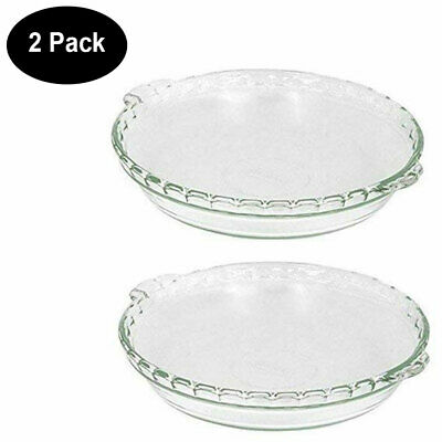Pyrex 2 Piece Pie Plate Bakeware 9-1/2-Inch Scalloped Pie Plate (Clear, 2 Pack)