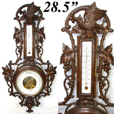 "Fab Antique Black Forest Carved 28.5"" Wall Barometer, Thermometer: Bird & Leaves"