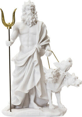 Hades / Pluto God of Underworld with Cerberus / Alabaster Statue 24cm / 9.44in