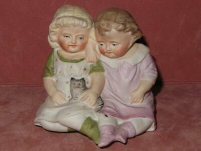 Antique German Piano Baby Girls With Cat Figurine