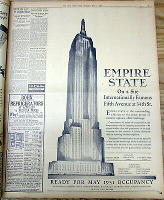 BEST 1930 NY Times newspaper with 1st large illustrated Ad EMPIRE STATE BUILDING