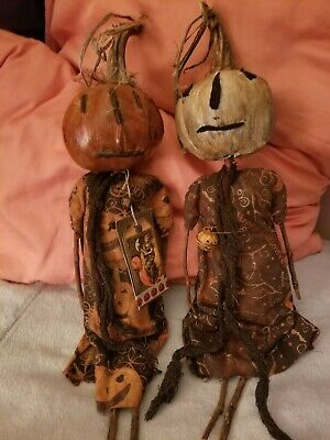 OOAK Artist Made Primitive CLOTH RAG DOLLS pair handmade primitive pumpkin