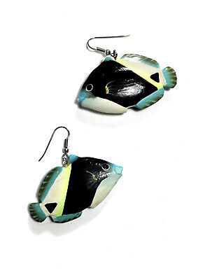 Vintage Hand Painted Carved Wooden Tropical Fish Dangle Earrings Never Worn!