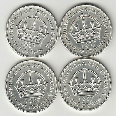 1937 Kgvi Australia Crowns X 4 - (92.5% Silver) - Four Great Large Silver Coins