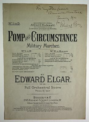 Sir Edward Elgar - Signed Sheet Music cover, with inscription