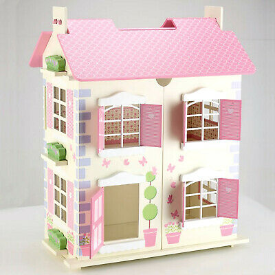 Wooden Toy Doll House 3 Floors with 7PCs Furnitures Alice's Dollhouse - Cream