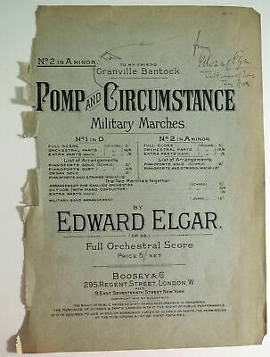 "Sir Edward Elgar - Signed Sheet Music cover, with drawn ""hand"" inscription!"
