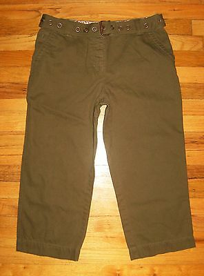 LIZ CLAIBORNE   Size 12   MICHAELA Belted CAPRI CROP PANTS  Khaki Brown