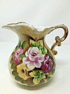 Japan Pitcher Vase Floral Flowers Hand Painted Victorian Style Porcelain Vintage