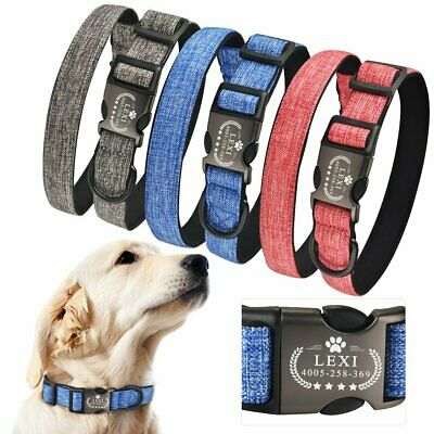 Personalized Dog Collar Custom Engraved Pet Puppy Name Number Durable Fabric S-L