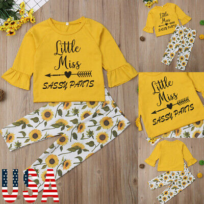US Fashion Toddler Kids Baby Girls Flowers Tops Pants Leggings Outfits Clothes