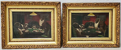 "Pair of Early 20th Century ""Dogs Playing Poker"" Original Oil Paintings c.1900"