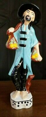 "Asian Man Glass Figurine - Man Carrying Fruit - Marked ""Dr 1979"" On Bottom"