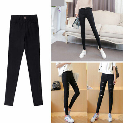 Women Jeans Casual Slim Trousers Stretch Pencil Pants High Waist Skinny Jeggings