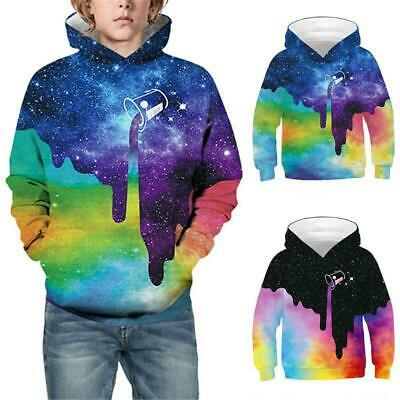 Kids Girl Boy 3D Print Sweatshirt Spilled Milk Galaxy Graphic Children Hoodies