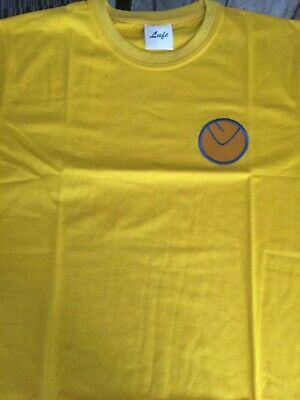 Leeds United canary yellow cotton replica shirt smiley badge medium