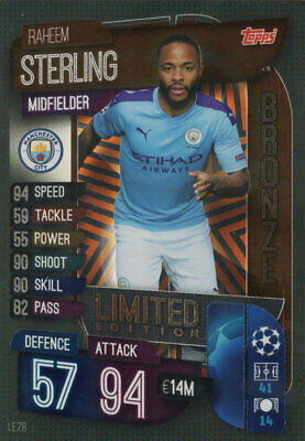 Match Attax 2019/20 19/20 Raheem Sterling Bronze Limited Edition Trading Card