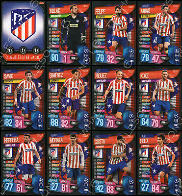 Match Attax 2019/20 19/20 Atletico Madrid Full Team Set Of 12 Cards - Complete