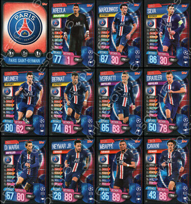 Match Attax 2019/20 19/20 Paris Saint-Germain Psg Full Team Set Of 12 Cards